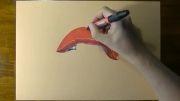 رسم یک دهان  با لب های قرمز زیبا!