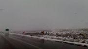 بارش اولین برف پاییزی در گردنه آهوان- سمنان