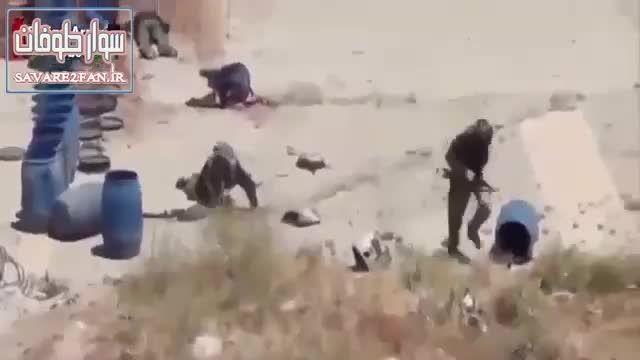 کشته شدن داعشی در حین فرار توسط تک تیرانداز ارتش سوریه!