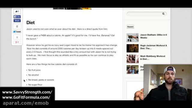 تمرینات و رژیم غدایی جیسون استاتهام Jason Statham