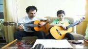 دو نوازی گیتار آران 8 ساله و مربی گیتار كیخسرو محمودی