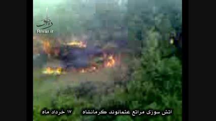 آتش سوزی مراتع منطقه عثمانوند کرمانشاه