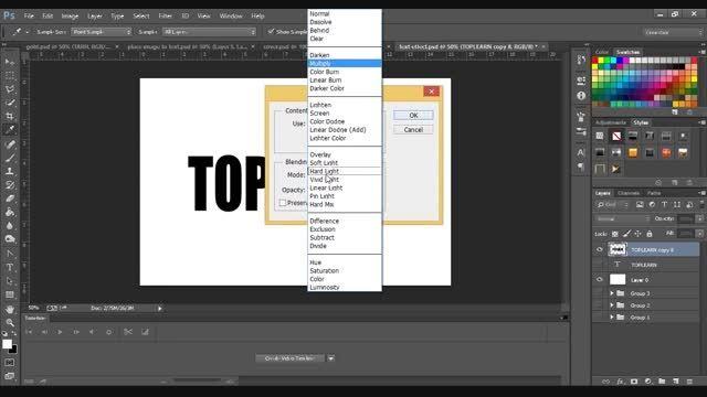 کلیپ آموزش ایجاد افکت جذاب روی متن در فتوشاپ