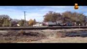 لحظه برخورد قطار با خودرو