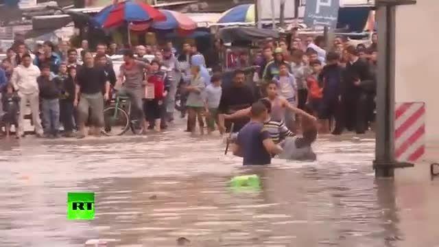 دوست و دشمن خیابان های غزه و اسرائیل در سیل و آب گرفتگی
