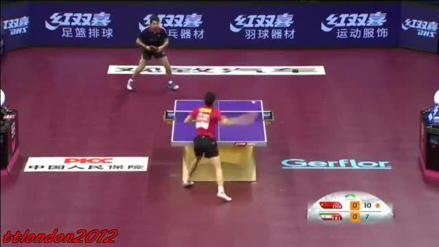 بازی پینگ پنگ نوشاد عالمیان با نفر اول دنیا=مالونگ