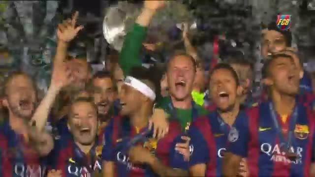 جشن قهرمانی بارسلونا در فینال چمپیونزلیگ 2015