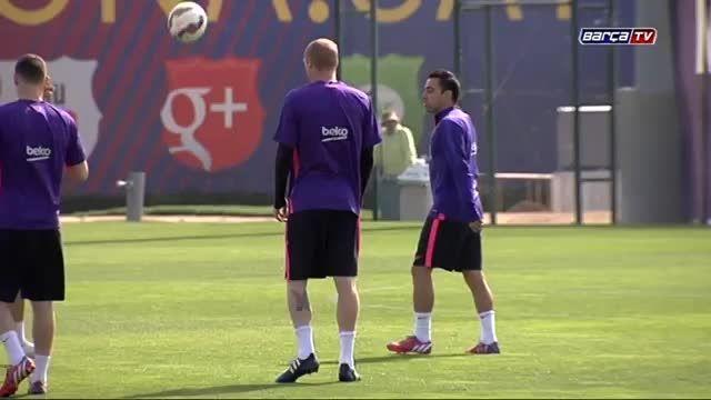 آخرین تمرین بارسلونا پیش از دیدار برابر اسپانیول