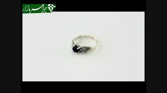 انگشتر نقره نگین آبی رکاب طرح پیچ زنانه - کد 6944