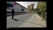 رانش زمین و شکستگی لوله های آب و فاضلاب در خیابان ایران زمین