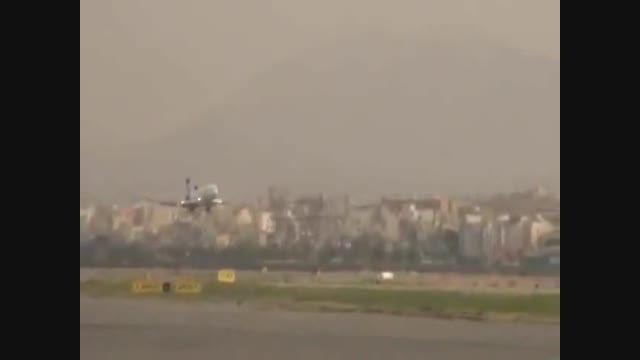 فرود هواپیمای بدون چرخ در فرودگاه مهرآباد