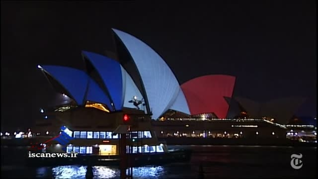 تصاویر نقاط دیدنی دنیا که به رنگ پرچم فرانسه درآمدند