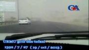 طوفان نمک در جاده های اطراف دریاچه ارومیه (اورمیه)