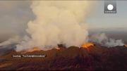 ثبت لحظه خروج گدازه های آتشفانی توسط پهپاد
