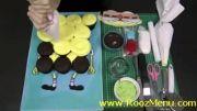 آموزش تزئین کیک در روزمنو - کیک باب اسفنجی با کاپ کیک