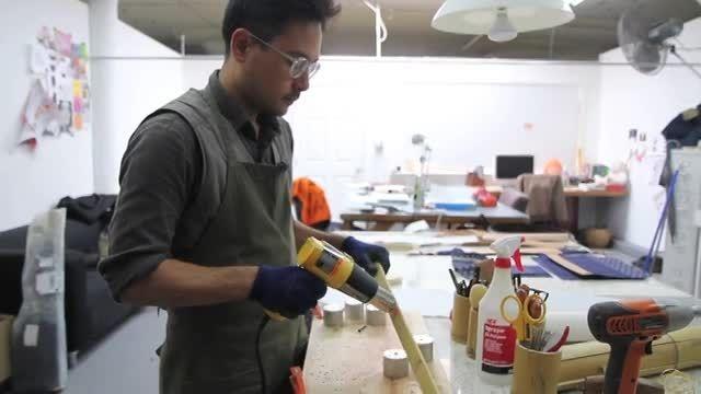 دوخت کیف با ایده استفاده از چوب بامبو