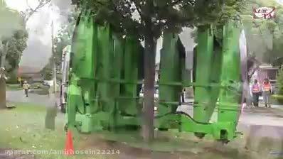 جابجایی درختان بزرگ با ماشین درخت کن