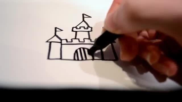 نقاشی کردن قلعه با ماژیک
