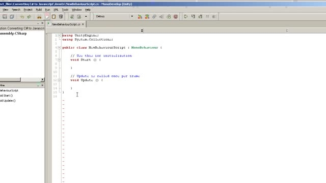 تبدیل کدنویسی زبان #C به زبان جاوا اسکریپت در یونیتی