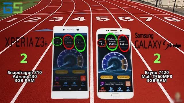 مقایسه کامل سرعت و بنچمارک Galaxy S6 edge با Xperia Z3+