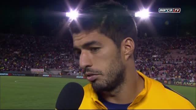 مصاحبه با بازیکنان بارسا پس از برد مقابل لس آنجلس گلکسی