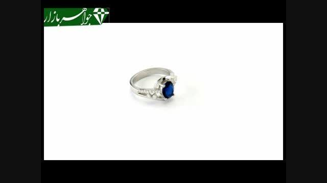 انگشتر نقره نگین آبی طرح آیلین زنانه - کد 6872
