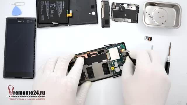 تعویض تاچ و LCD سونی C3 - روش باز کردن Sony C3