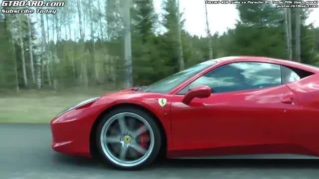 درگ فراری 458 ایتالیا با پورشه 911 توربو PDK