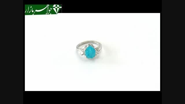 انگشتر نقره نگین آبی جذاب زنانه - کد 6870