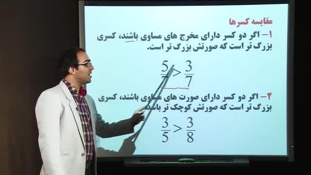 مقایسه و ساده کردن کسرها از ریاضی ششم - مهدی مشایخی راد