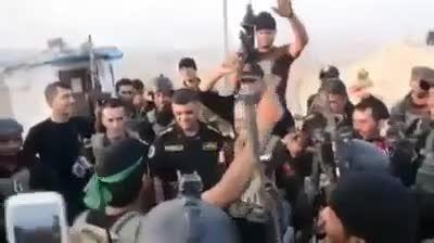 شادی یگان طلایی ارتش عراق پس از ازاد سازی سد موصل