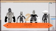 ایده پردازی در طراحی کاراکتر کارتونی انسان با اشکال هندسی