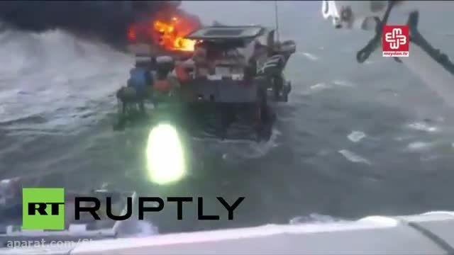 در آتش سوزی دکل نفتی دریای خزر 29 نفر هنوز مفقود هستند