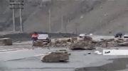ریزش کوه در منطقه آسارای جاده چالوس