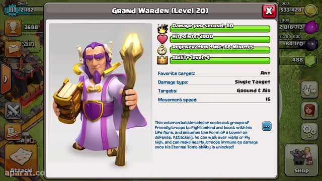 ''clash of clans new hero ''Grand Warden
