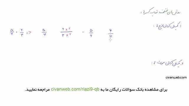 ریاضی نهم نکات کلیدی از روش های مقایسه کسرها