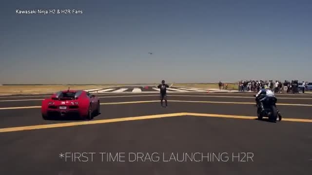Kawasaki H2R Vs Bugatti Veyron Vs Nissan GTR vs Mclaren