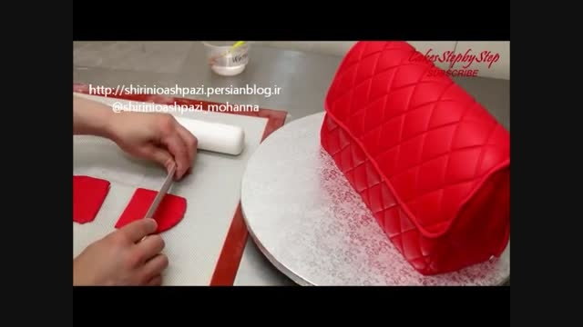 آموزش کیک به شکل کیف با خمیر فوندانت 2