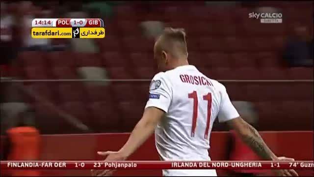 گل های بازی لهستان 8-1 جبل الطارق