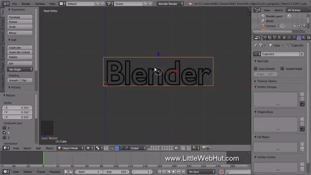 آموزش تراشیدن متن مثل چوب در Blender