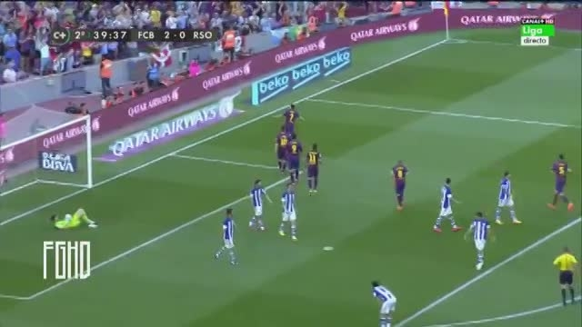 گل دوم : بارسلونا 2 - 0 رئال سوسیداد گل برگردون (پدرو)