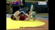 مسابقه کشتی مسعود اسماعیل پور و علی اف (کسب مدال نقره)