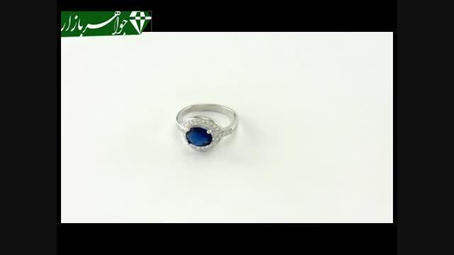 انگشتر نقره نگین آبی طرح شوکا زنانه - کد 6949