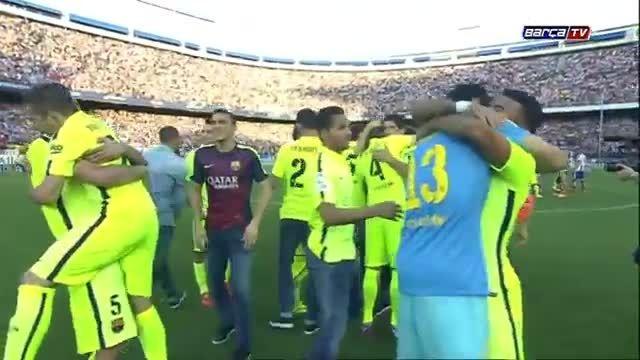 جشن بارسلونا پس از قهرمانی در لالیگا پس از برد اتلتیکو