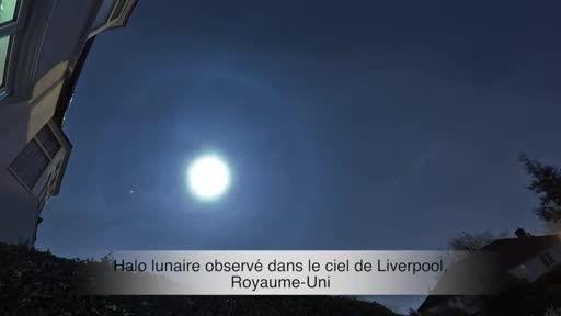 هاله ای عجیب و شگفت انگیز به دور ماه در آسمان انگلیس