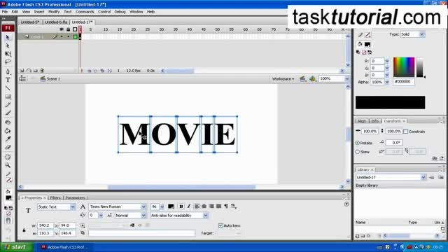 Simple Text Effect Animation in Flash