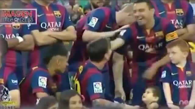 فرزندان بازیکنان بارسلونا در جشن قهرمانی