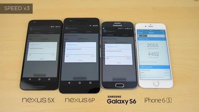 تست بنچمارک Nexus 6P vs Nexus 5X vs iPhone 6s vs s6