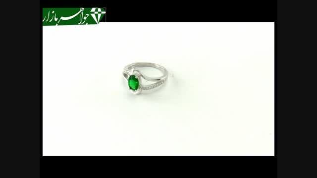 انگشتر نقره نگین سبز طرح دو حلقه ای زنانه - کد 6950