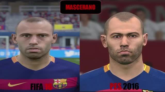 مقایسه چهره بازیکنان بارسلونا در fifa 16 و pes 2016